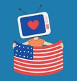Cartoon Television Holding a USA Flag vector image