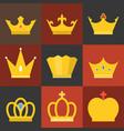 crown flat design set 3 vector image