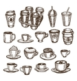 hand drawn set of cups and coffee to go vector image