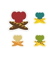 Set of paper stickers on white background chef hat vector image