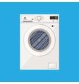Modern white washing machine in flat style vector image