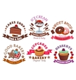 Pastry shop and cafe signs with cake and dessert vector image