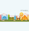 istanbul skyline with color landmarks and blue sky vector image