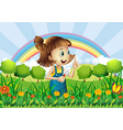 A young girl gardening vector image