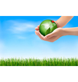 Green world and leaf have love bug in hands vector image