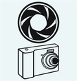 Digital photo camera and camera shutter vector image
