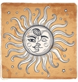 Sun and moon vintage vector image
