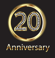 20 anniversary or birthday gold vector image vector image
