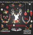 Chalkboard Merry Christmas Flowers Deer vector image