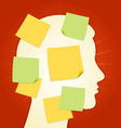 Head and paper stickers on Red vector image vector image