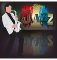 abstract music with saxophone player on scene vector image