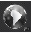 Glass Globe icon on metal background vector image