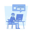hacker cracking computer password vector image