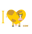 I love cow Symbol heart of cows for lovers vector image