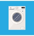 Modern white washing machine in flat style vector image
