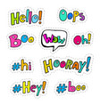 set of patches with interjections vector image