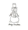 snowman hand drawn vector image