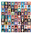 Set of people icons in flat style with faces 07 b vector image