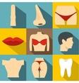 Body icons set flat style vector image