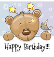 birthday card with teddy bear vector image