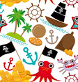 Marine seamless pirate pattern on white background vector image