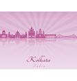 Kolkata skyline in purple radiant orchid vector image vector image