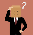 Confused businessman with a cardboard box on his vector image