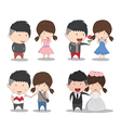 Set character cute cartoon wedding couples cute vector image