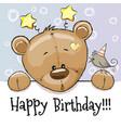 birthday card with teddy bear vector image
