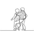 friends boys going back to school with bags vector image