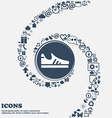 Running shoe icon in the center Around the many vector image