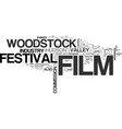 Woodstock film festival text word cloud concept vector image