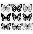 Butterfly silhouettes macro collection vector image