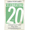 20 years anniversary retro background vector image