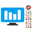 Bar chart monitoring icon with valentine bonus vector image