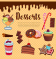 desserts waffle and cakes poster vector image