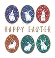 Floral easter eggs with bunny set vector image