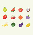 happy smiling cartoon fruits icon vector image