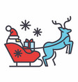 santa claus in a sleigh with a deer concept line vector image