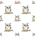 Seamless pattern with doodle owl vector image