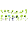 set of funny green aliens vector image