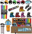 ski shop and equipment tools vector image