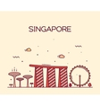 Singapore City skyline Trendy line art vector image