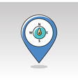 Compass wind rose pin map icon Weather vector image