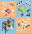 car service center isometric icons flat 3d vector image