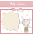 delicate baby shower card with teddy bear vector image