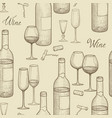 drink wine seamless sketch pattern wine card vector image
