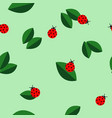 ladybugs and leaves texture seamless vector image