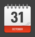october 31 calendar daily icon vector image