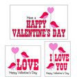 valentines day graphics with cute birds vector image
